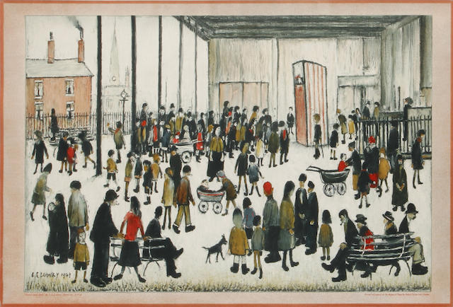 Laurence Stephen Lowry R.A. (British, 1887-1976) Punch and Judy Offset lithograph printed in colours, 1947, on wove, the edition was 6000, printed for School Prints Ltd., London, 445 x 685mm (17 1/2 x 27)(I)(unframed)