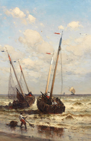 Theodor Alexander Weber (German, 1838-1907) Off to the fishing grounds