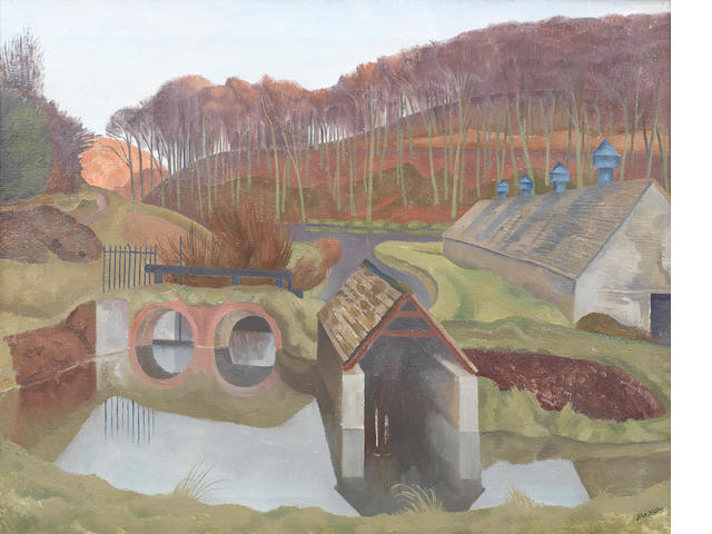 John Nash R.A. (British, 1893-1977) Nailsworth, Gloucestershire 35 x 52.5 cm. (13 3/4 x 20 3/4 in.)