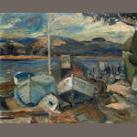 Ronald Ossory Dunlop, NEA, ARA, RBA (British, 1894-1973) Moored boats by the water