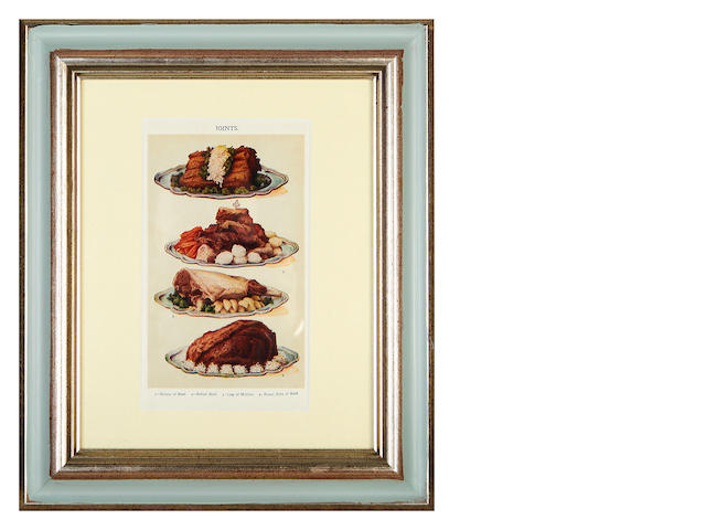 A set of twelve framed coloured plates of food decoartion by Mrs Beaton