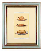 A set of twelve late 19th / early 20th century coloured plates depicting food dishes by Mrs Beaton