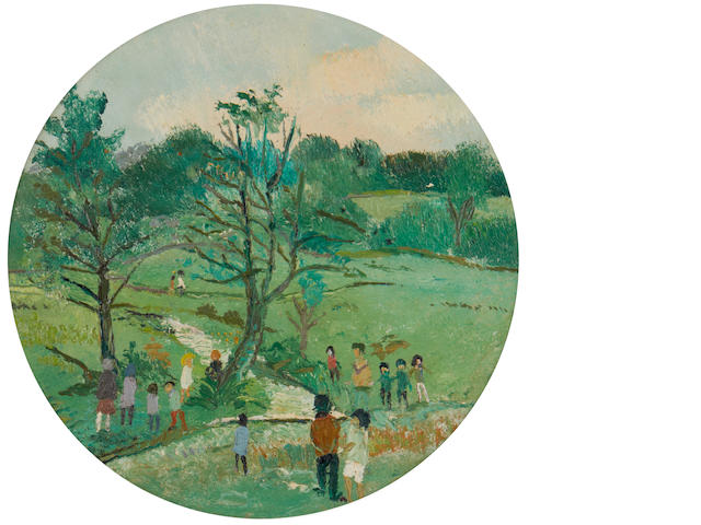 Fred Yates (British, 1922-2008) Walking in the park, Sunday 34cm (13 1/2in)(diameter)