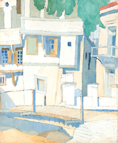 Spyros Papaloukas (Greek, 1892-1957) Houses in Lesvos 33.2 x 27 cm.