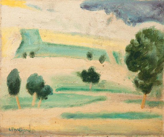 Constantinos Parthenis (Greek, 1878-1967) Study for the work 'Lycabettus' 23.5 x 27.7 cm.