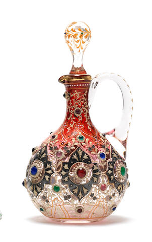 A Moser jewelled and enamelled flask and stopper, circa 1890