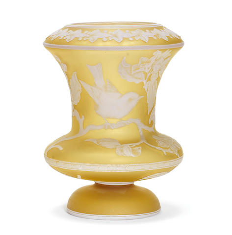 Yellow cameo glass urn