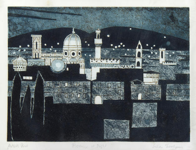 Julian Trevelyan R.A. (British, 1910-1988) Florence at Night, from the Florence Suite Etching, aquatint and soft ground, 1965-66, on handmade Crisbrook, signed, titled and inscribed 'artist's proof' one of twelve artist proofs aside from the numbered edition of 100, published by Editions Alecto, London, printed by Michael Rand, 352 x 477mm (13 3/4 x 18 3/4in)(PL)