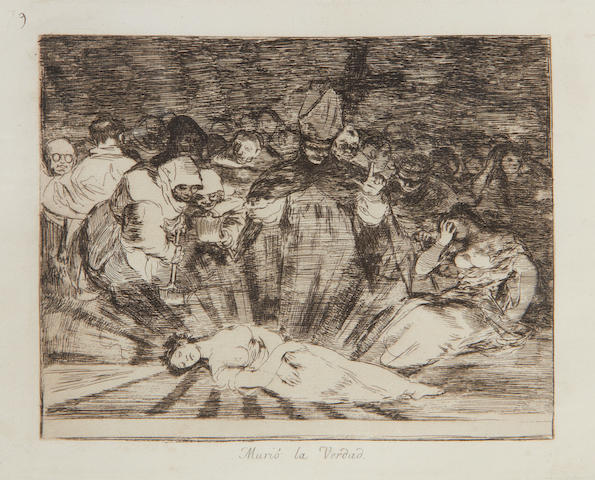 Francisco José de Goya y Lucientes (Spanish, 1746-1828) Murió la verdad, pl. 79, from Los Desastres de la Guerra Etching, on laid without watermark, a later impression from the Fourth Edition, published by the Real Academia de Bellas Artes, Madrid, 1906, with margins, 173 x 216mm (6 3/4 x 8 1/2in)(PL); 255 x 345mm (10 x 13 3/8in)(SH)