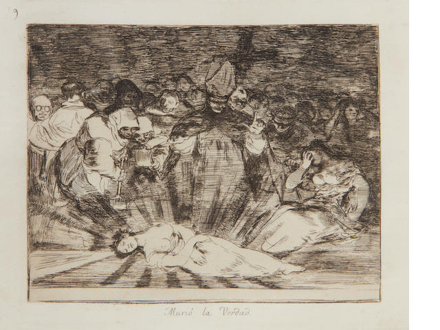 Francisco José de Goya y Lucientes (Spanish, 1746-1828) Murió la verdad, pl. 79, from Los Desastres de la Guerra Etching, on laid wihtout watermark, a later impression from the Fourth Edition, published by the Real Academia de Bellas Artes, Madrid, 1906, with margins, 173 x 216mm (6 3/4 x 8 1/2in)(PL); 255 x 345mm (10 x 13 3/8in)(SH)