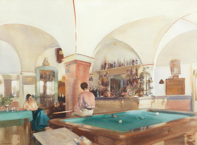 Sir William Russell Flint R.A., P.R.W.S. (British, 1880-1969) The Billiard Room 49.5 x 67.4 cm. (19 1/2 x 26 1/2 in.)
