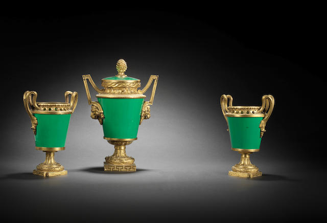 A French Louis XVI ormolu-mounted green-ground Sèvres porcelain three-piece garniture circa 1770