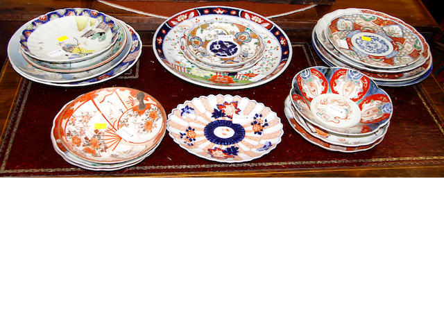 A group of Japanese plates and dishes