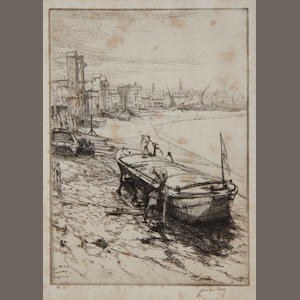 "A Collection of Modern British Etchings Including three by E H Lacey ""A Chelsea Madonna""; ""The Barrow Woman"" and ""Camdenia"", Lionel Lindsay ""A Street in Guadalupe"" and ""The Smithy, Avila"", ""Stonehaven"" by Patrick Hall, ""Glass Blowers"", ""Repairing Barges"", ""Molo"" and a signed Christmas card by James McBey, ""Gairloch"" by Fred Fassel and figures standing by a medieval door by W R Flint 12 1 framed"