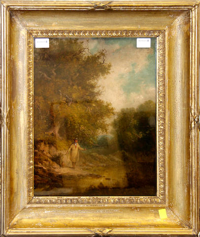 Manner of George Morland Fisherman in a country landscape