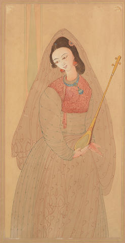 Abdur Rahman Chughtai (Pakistan, 1897-1975) Untitled (Girl with Instrament),