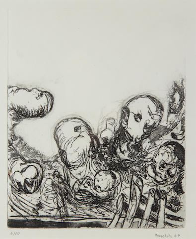 Georg Baselitz (German, born 1938) Kopfe, 194 (Jahn 5) Etching, on wove paper, with full margins, signed in pencil and dated '64', numbered 17/20, 305 x 244mm (12 x 9 5/8in), (framed) 1