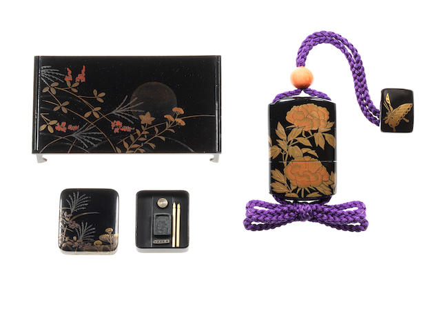A group of black lacquer miniature containers and covers Meiji Period