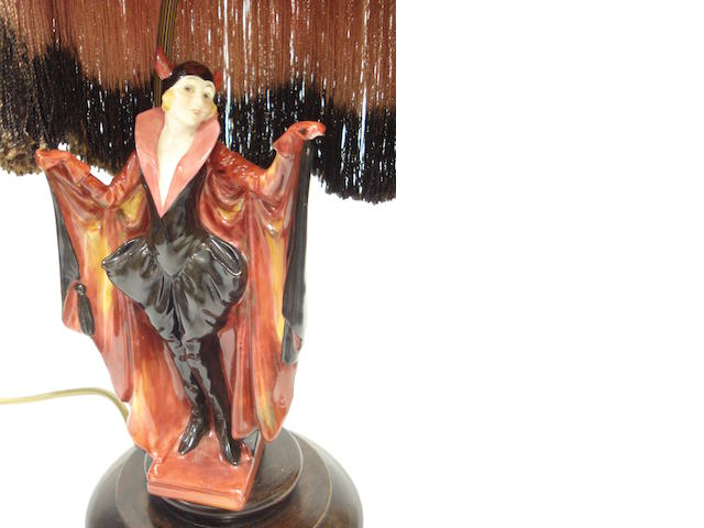 A Royal Doulton figure of Marietta mounted as a lamp