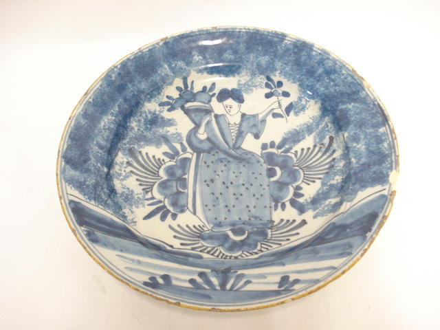 A delft blue and white charger 18th century