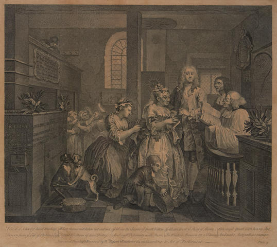 William Hogarth (British, 1697-1764) The Rake's Progress Seven engravings from the set of eight, originally published by W. Hogarth, London, 1735, 355 x 410mm (14 x 16in)(PL) (7)