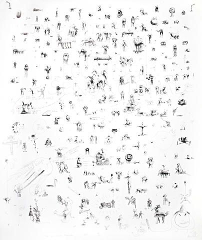 Jake & Dinos Chapman (British born 1962 and 1966) All Of Our Ideas For The Next 20 Years Lithographic poster, signed, dated and numbered 31/50, issued to accompany 'Sensation: Young British Artists from the Saatchi Collection' at the Royal Academy of Arts, 1225 x 1000mm (48 1/8 x 39 3/8in)(SH)(unframed)