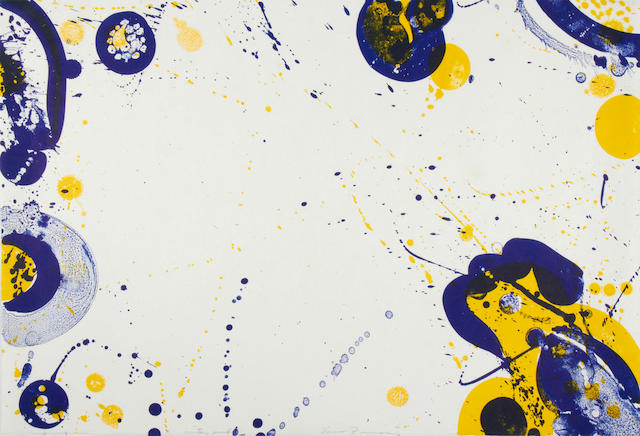 Sam Francis (American, 1923-1994) Untitled composition Lithograph printed in colours, on japan, signed and inscribed 'printer's proof' in pencil, the full sheet printed to the edges, 395 x 580mm (15 1/2 x 22 7/8in)(SH) unframed