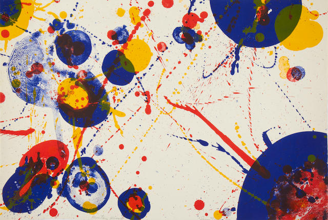 Sam Francis (American, 1923-1994) Untitled composition, from The Pasadena box Lithograph printed in colours, on Rives BFK, signed and inscribed 'printer's proof' in pencil, aside from the edition of 100, the full sheet printed to the edges, 395 x 580mm (15 1/2 x 22 7/8in)(SH) unframed