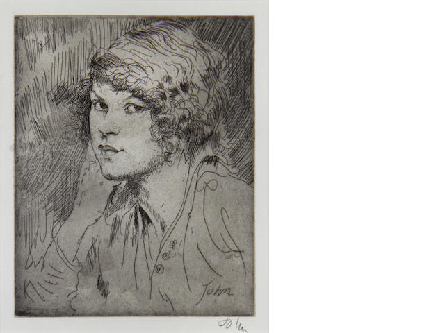 Sir Augustus Edwin John (British, 1878-1961) A Girl's Head- E Etching printed with tone, 1919, on laid, signed in pencil, from the edition of 50, 175 x 140mm (6 7/8 x 5 1/2in)(PL)