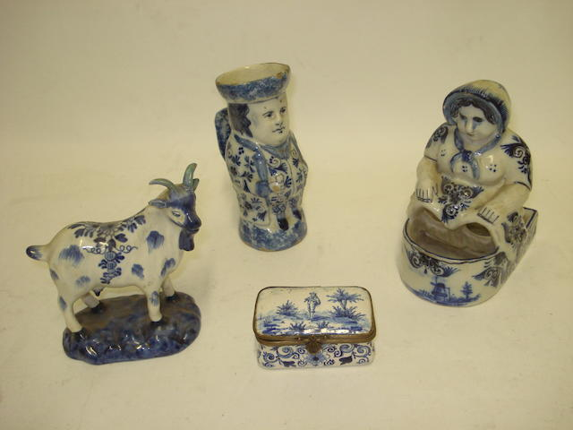 Four pieces of blue and white Dutch delft 18th century and later