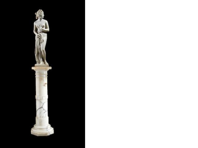 An Italian marble Venus with marble column