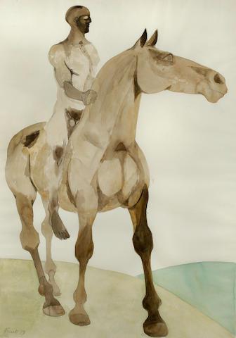 Dame Elisabeth Frink R.A. (British, 1930-1993) Horse and Rider, 1979 sight 100 x 70 cm. (39 3/8 x 27 5/8 in.)