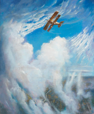 Christopher Richard Wynne Nevinson A.R.A. (British, 1889-1946) War in the Air 55.3 x 47 cm. (21 3/4 x 18 1/2 in.)