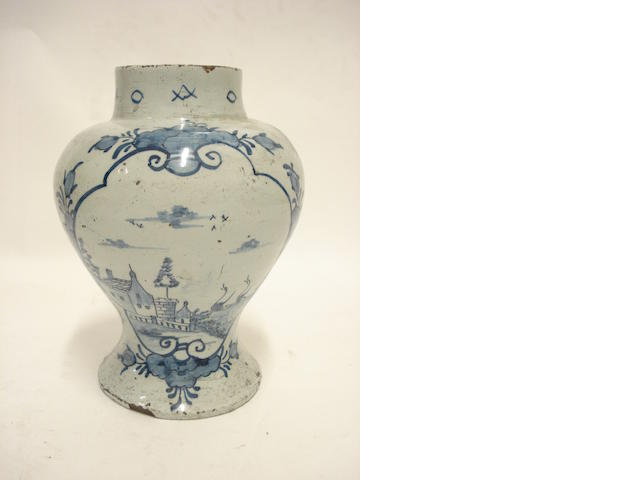 A blue and white Delft vase 18th century