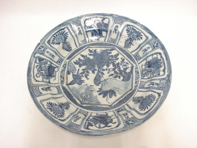 A delft blue and white kraak style charger 18th century