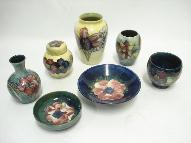 A collection of small Moorcroft vases and dishes