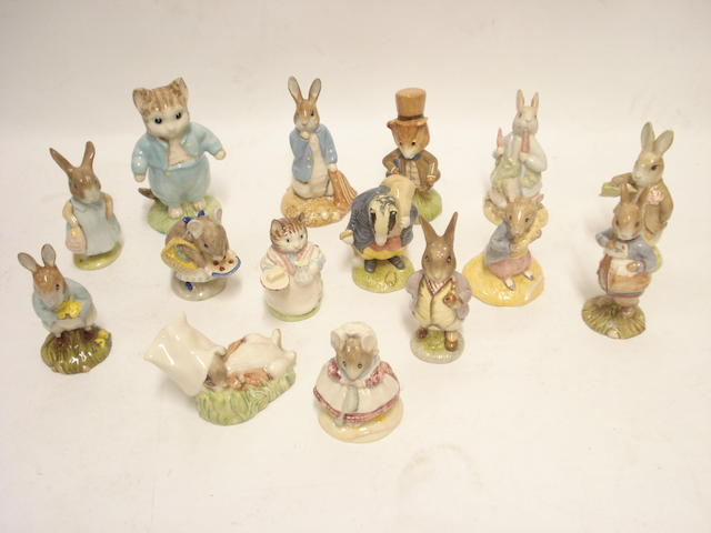 A collection of modern Beatrix Potter figures