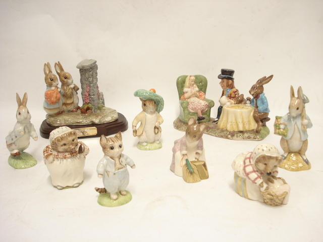 A collection of modern Beswickware Royal Doulton Beatrix Potter figures