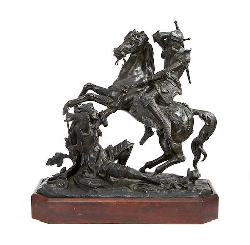 A 19th Century bronze group, knight on horseback and axeman, 40cm