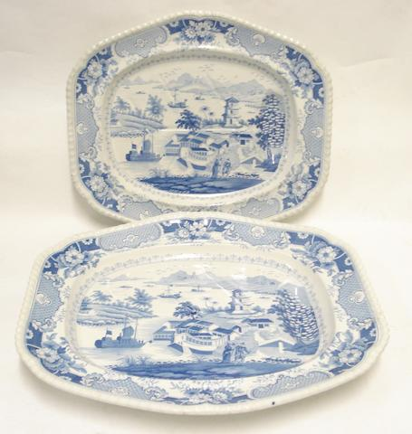 Two John & William Ridgway 'India Temple' earthenware tree and well platters Circa 1820