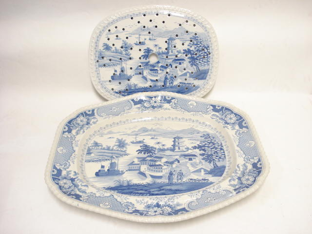 A John & William Ridgway 'India Temple' earthenware platter and a drainer Circa 1820