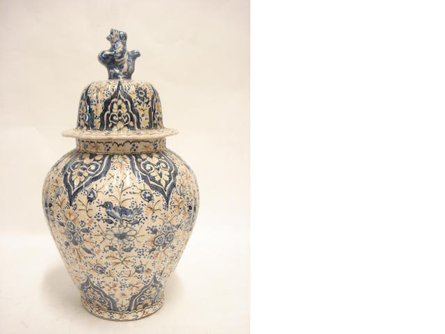 A blue and white continental fiance jar and cover Circa 1900