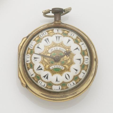Julien Le Roy. A late 18th century gilt metal open face Turkish Market pocket watch Paris, No.13751, Circa 1890