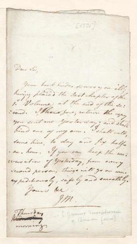 "MACPHERSON (JAMES) Autograph letter signed (""J M""), to his publisher Thomas Cadell, [?1775]"