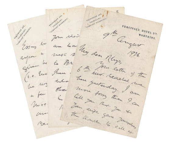 "WISE (THOMAS JAMES) Autograph letter signed (""Thos J. Wise""), to ""My dear Rhys"", discussing Browning's essay on Shelley, 1926"