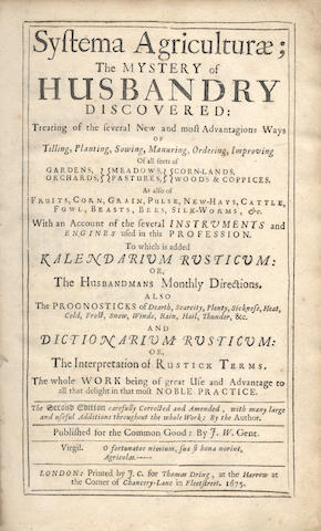 WORLIDGE (JOHN)] Systema Agriculturae; The Mystery of Husbandry Discovered, 1675