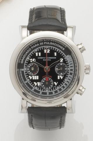Cuervo Y Sobrinos. A stainless steel automatic chronograph with second time zone Torpedo Pulsometro 8, Ref:A3012, Case No.5827, Recent