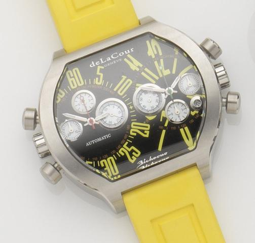 DeLaCour. A stainless steel automatic dual time and dual chronograph wristwatch Bichrono SII, Case No.67031 362/500, Recent