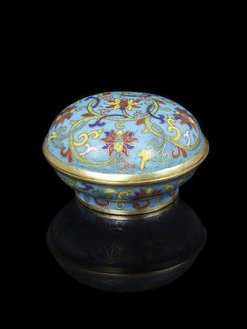 An Imperial gilt-bronze and cloisonné-enamelled box and cover Qianlong incised mark and of the period