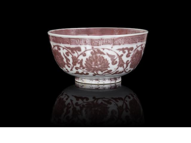 An exceptional copper-red 'lotus' bowl Hongwu
